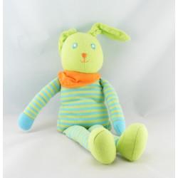 Doudou lapin vert salopette bleu à pois COROLLE