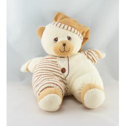 Doudou semi plat ours beige rayé marron ANNA CLUB PLUSH