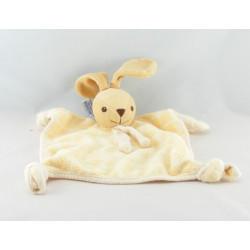 Doudou plat carré lapin jaune NOUNOURS