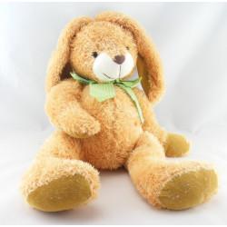 Grand Doudou peluche chien lapin beige marron noeud carreaux vert BAMBIA