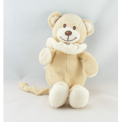 Doudou plat ours beige col blanc BAMBIA