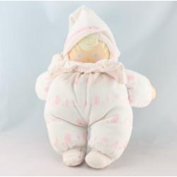 Doudou bébé poupée chiffon blanc bleu rayé plage COROLLE