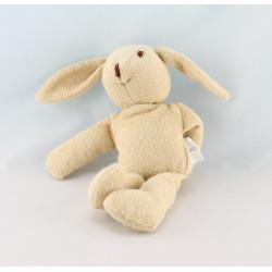 Doudou lapin beige maillot blanc coeur rouge OKAIDI