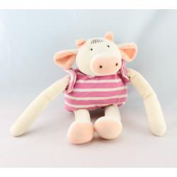 Doudou Vache Boule rayé rose Nounours