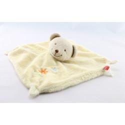 Doudou plat  carré jaune ours beige TEX