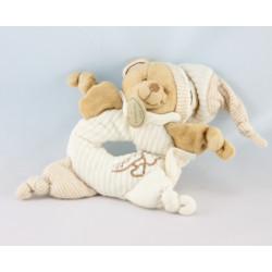 Doudou et compagnie bio ours blanc beige fleurs