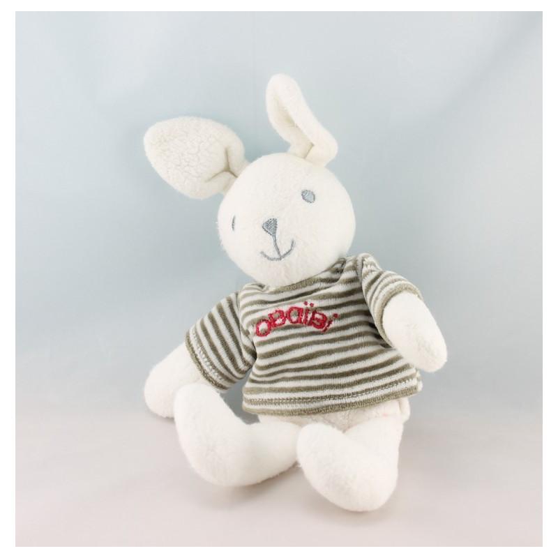 Doudou lapin blanc pull rayé vert kaki OBAIBI