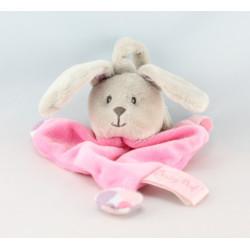 Doudou lapin gris rose pois avec anneau BABY NAT