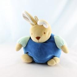 Doudou lapin bleu col blanc TEX
