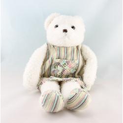 Doudou ours blanc robe rayé fleurs OBAIBI