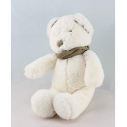 Doudou ours blanc bandanas gris NICOTOY