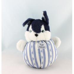 Doudou boule lapin bleu marine rayé TARTINE ET CHOCOLAT 15 cm