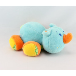 Doudou hippopotame bleu orange jaune foulard vert JOLLYBABY