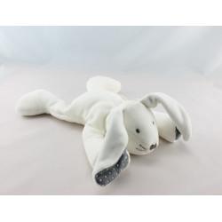 Doudou lapin couché beige bleu pois blanc OBAIBI OKAIDI