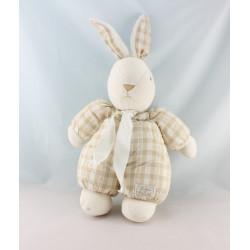 Doudou lapin carreaux beige blanc TARTINE ET CHOCOLAT