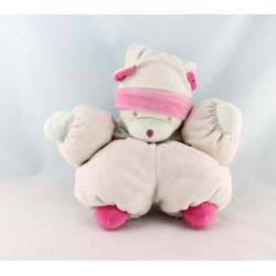 Doudou ours rose fleur bonnet NOUNOURS
