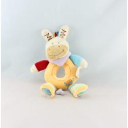 Doudou cheval ane multicolore mouchoir BABY NAT
