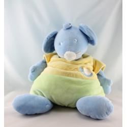 Doudou souris  bleu jaune vert escargot soleil VETIR