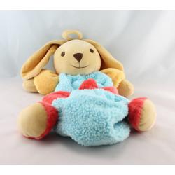 Doudou boule lapin bleu jaune foulard rouge NOUNOURS
