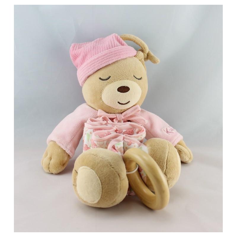 Doudou musical ours zig lilirose rose avec fleurs Kaloo