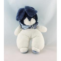 Doudou peluche lapin bleu marine fleurs AJENA