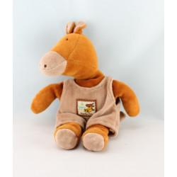 Doudou éléphant marron salopette Les Zazous MOULIN ROTY