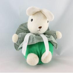 Doudou lapin blanc vert rayé BLEDINA NOUNOURS