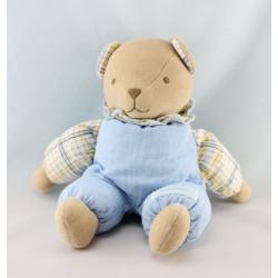 Doudou ours beige pyjama marron bleu carreaux NOUNOURS
