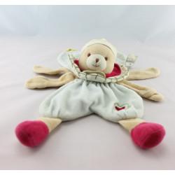 Doudou et compagnie plat fleur bleu rose vert ours coeur brodé
