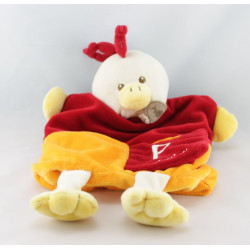 Doudou plat marionnette alphabet poule rouge orange BABY NAT