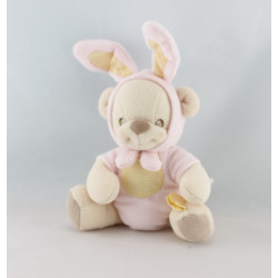 Doudou nature bearries ours déguisé en lapin rose FISHER PRICE