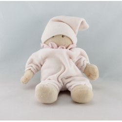 Doudou plat ours rose coccinelle brodée BABY CLUB