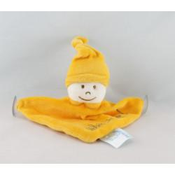 Doudou plat bébé à bord lutin jaune ventouses KING BEAR
