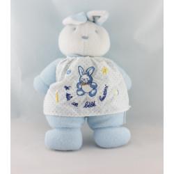 Doudou lapin blanc tablier bleu vichy KLORANE Lot de 2