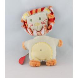 Doudou plat lion beige rouge gris AUCHAN