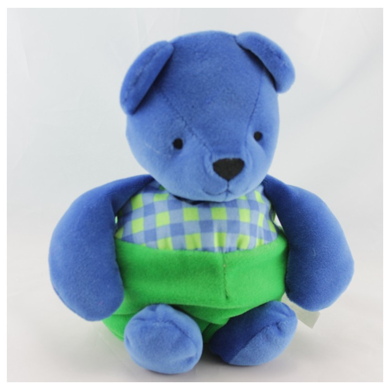 Doudou ours boule bleu vert carreau BERCHET