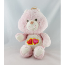 Ancienne Peluche Bisounours rose Groschéri 2 coeurs CARE BEARS 1984