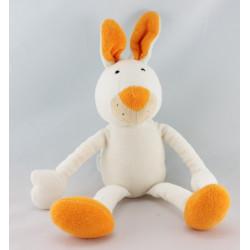 Doudou musical lapin blanc salopette rouge pois orange BABYSUN