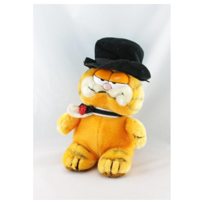 Peluche chat orange Garfield avec cravate et sac 1978 1981