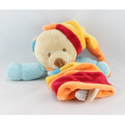 Doudou ours bleu jaune rouge orange mouchoir BABY NAT