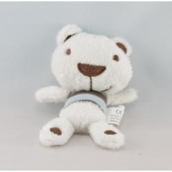 Doudou ours blanc vert AUCHAN