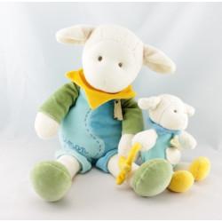 Doudou et compagnie Simon mouton bleu vert col jaune avec bébé
