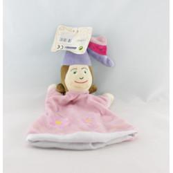 Doudou plat marionnette fée rose ailes vertes CMP