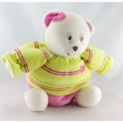 Doudou ours boule vert rose GIFTOYS NEUF