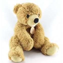 Doudou Peluche ours beige tout doux Médaille BEAR
