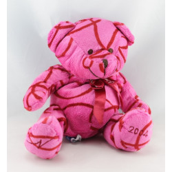 Doudou ours rouge rose NOCIBE 2004