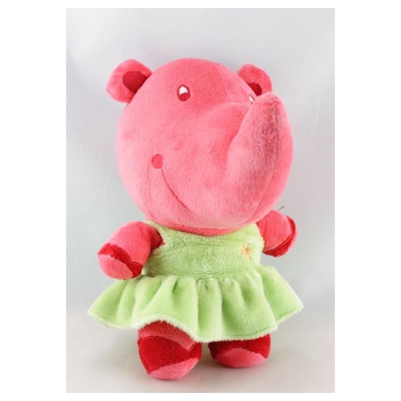 Doudou rhinocéros rose robe verte TI LIDOU MALIN