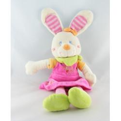 Doudou lapin robe rose poussin MOTS D'ENFANTS 32 cm
