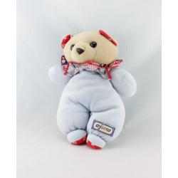 Doudou ours blanc imprimé bleu AJENA