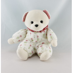 Doudou ours bleu col vichy rouge fleurs AJENA